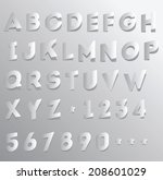 paper cut and folded alphabet... | Shutterstock .eps vector #208601029