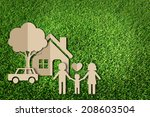 paper cut of family on green... | Shutterstock . vector #208603504