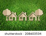 paper cut of family on green... | Shutterstock . vector #208603534
