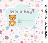 baby boy arrival card. baby... | Shutterstock .eps vector #208606645