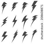 Set Of Lightening Bolt Icon  ...