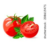 vector fresh tomatoes with... | Shutterstock .eps vector #208615471