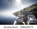 fishing man in boat | Shutterstock . vector #208628275