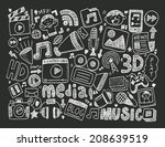 doodle media background | Shutterstock .eps vector #208639519