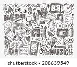 doodle media background | Shutterstock .eps vector #208639549