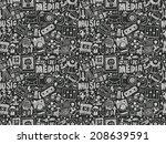 seamless doodle media pattern | Shutterstock .eps vector #208639591