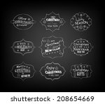set of vintage retro christmas... | Shutterstock .eps vector #208654669