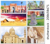 collage of beautiful egypt .... | Shutterstock . vector #208658671