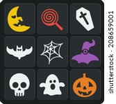 Set Of 9 Halloween Vector Web...
