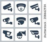 cctv cameras vector icons set | Shutterstock .eps vector #208662934