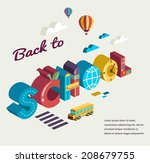 back to school   text with... | Shutterstock .eps vector #208679755