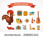 portugal    vector icons and... | Shutterstock .eps vector #208681261