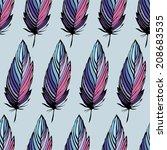 feather colorful seamless... | Shutterstock .eps vector #208683535