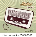 retro party   old radio | Shutterstock .eps vector #208688509