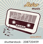retro poster   old radio  ... | Shutterstock .eps vector #208720459