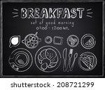 Vintage Poster. Breakfast menu. Set on the chalkboard. Sketches for design in retro style
