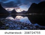reflection milford sound | Shutterstock . vector #208724755