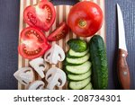 fresh vegetables at cutting... | Shutterstock . vector #208734301