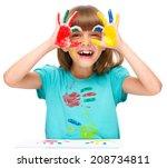 portrait of a cute cheerful... | Shutterstock . vector #208734811