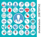 medical vector icon set in... | Shutterstock .eps vector #208739761