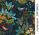 vector floral seamless pattern... | Shutterstock .eps vector #208748071