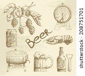 hand drawn beer sketch set....   Shutterstock .eps vector #208751701