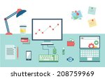 business table layout | Shutterstock .eps vector #208759969