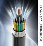 fiber optical cable detail...   Shutterstock . vector #208779754