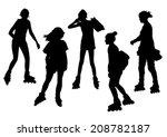girls on roller skates... | Shutterstock .eps vector #208782187