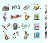 set of music dance instruments... | Shutterstock .eps vector #208782811