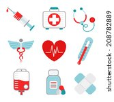 decorative medical emergency... | Shutterstock .eps vector #208782889