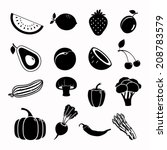 vector food black icon set | Shutterstock .eps vector #208783579