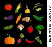 modern vegetable vector icon set | Shutterstock .eps vector #208783639