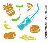 vector food black icon set | Shutterstock .eps vector #208783651