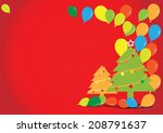 christmas tree with balloons on ... | Shutterstock .eps vector #208791637