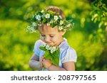 a sweet smiling little girl... | Shutterstock . vector #208797565