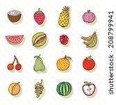 fruit icon set. vector... | Shutterstock .eps vector #208799941