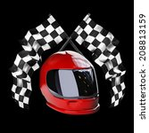 red moto helmet. two crossed... | Shutterstock . vector #208813159