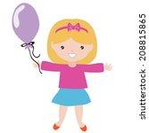 girl with balloon vector... | Shutterstock .eps vector #208815865