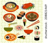 set icons of asian food... | Shutterstock .eps vector #208821469