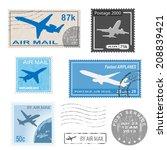 set of postal mark  stamps. ...   Shutterstock . vector #208839421