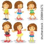illustration of the brunette... | Shutterstock . vector #208841671