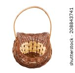 Brown wicker basket isolated over the white background - stock photo