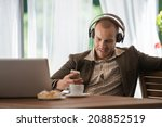 business man resting at cafe... | Shutterstock . vector #208852519