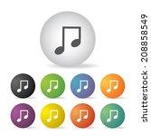 vector music button icon set   | Shutterstock .eps vector #208858549