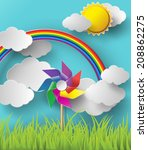 illustration of wind mills...   Shutterstock .eps vector #208862275