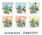 people decorating christmas... | Shutterstock .eps vector #208863295