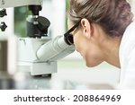 woman working with microscope... | Shutterstock . vector #208864969