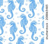 seamless background with sea... | Shutterstock .eps vector #208865485