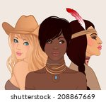 american beauty  3 beautiful...   Shutterstock .eps vector #208867669